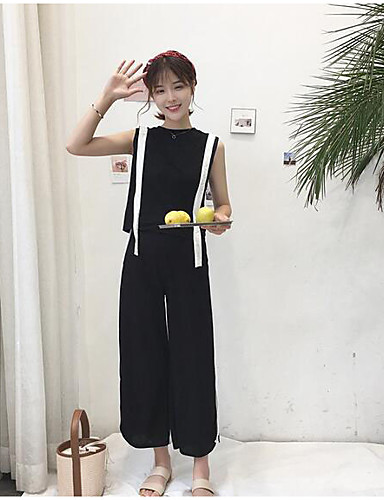 Women's Daily Casual Casual Summer Tank Top Pant Suits,Solid Striped Round Neck Sleeveless Cotton/nylon with a hint of stretch