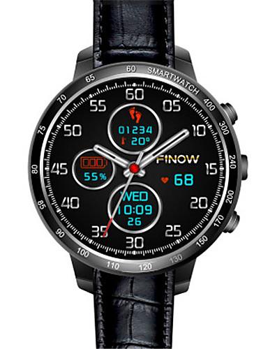 Men's Smart Watch Digital Leather Band Black