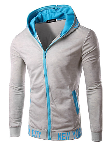 Men's Daily Sports Going out Hoodie Solid Letter Hooded Micro-elastic Cotton Polyester Long Sleeve Spring Fall