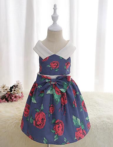 Mädchen Kleid Blumen Baumwolle Polyester Sommer Ärmellos