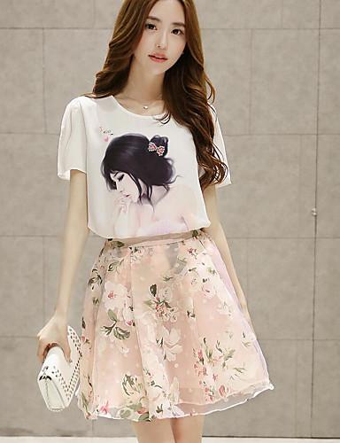 Women's Daily Casual Summer T-shirt Skirt Suits