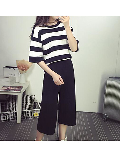 Women's Going out Casual Summer T-shirt Pant Suits,Striped Round Neck Long Sleeve Cashmere