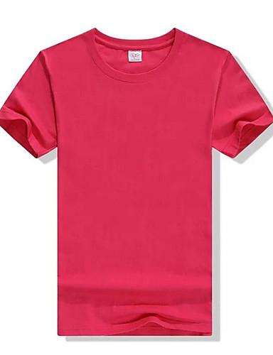Bomull Kortermet,Rund hals T-skjorte Ensfarget Enkel Fritid/hverdag Dame