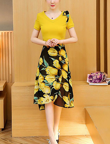 Women's Daily Casual Casual Summer T-shirt Dress Suits,Floral Color Block Round Neck Short Sleeve Cotton Micro-elastic