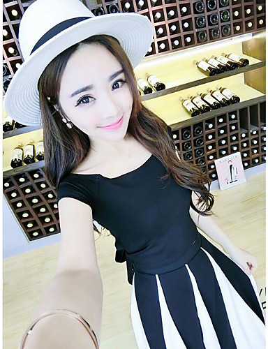 Women's Casual Tunics Summer T-shirt Skirt Suits,Solid Round Neck Short Sleeve 100% Cotton strenchy