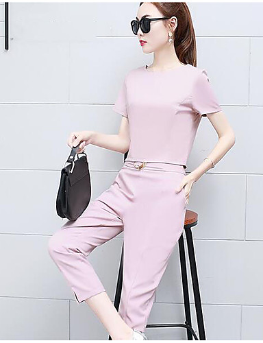 Women's Daily Work Casual Summer T-shirt Pant Suits