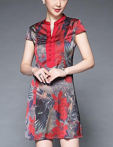 Mulheres Tamanhos Grandes Reto Vestido Floral Colarinho Chinês