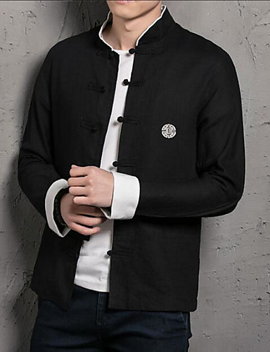 Men's Chinoiserie Slim Shirt - Solid Colored Standing Collar