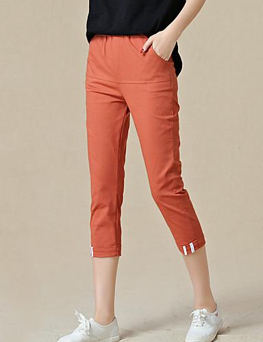 Women's Mid Rise Micro-elastic Chinos Pants,Simple Slim Solid