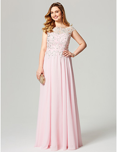 A-Line Illusion Neck Floor Length Chiffon Cocktail Party / Prom / Formal Evening Dress with Beading / Appliques / Sash / Ribbon by TS Couture®
