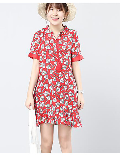 Women's Casual/Daily A Line Dress,Floral Letter V Neck Above Knee Short Sleeves Cotton Polyester Summer Mid Rise Micro-elastic Medium