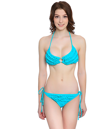Women's Straped Bikini Floral Lace Up Solid