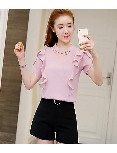 Women's Daily Casual Casual Summer Blouse Pant Suits,Solid V Neck Short Sleeve Chiffon Inelastic