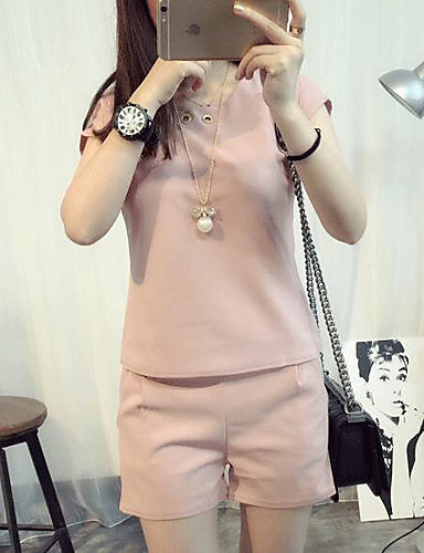 Women's Daily Casual Summer T-shirt Pant Suits,Solid Round Neck Short Sleeve 100%Wool