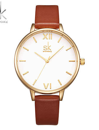 SK Women's Quartz Wrist Watch Chinese Large Dial Shock Resistant PU Band Luxury Casual Minimalist Fashion Brown