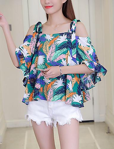 Women's Going out Beach Boho Summer Fall Blouse,Print Strap Half Sleeves Linen Polyester Medium