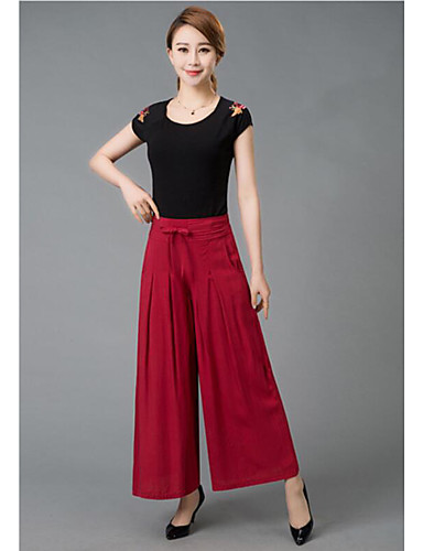 Women's High Rise Micro-elastic Loose Wide Leg Pants,Simple Loose Wide Leg Solid