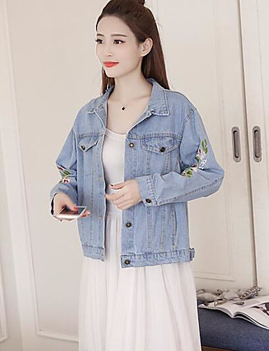 Women's Daily Modern/Contemporary Spring Denim Jacket,Solid Print Shirt Collar Long Sleeve Regular Polyester Others