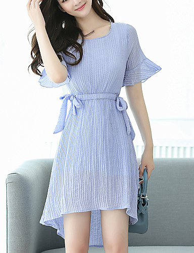 Women's Going out / Casual / Daily / Plus Size Street chic Flare Sleeve A Line / Chiffon Dress - Solid Colored Pleated Asymmetrical