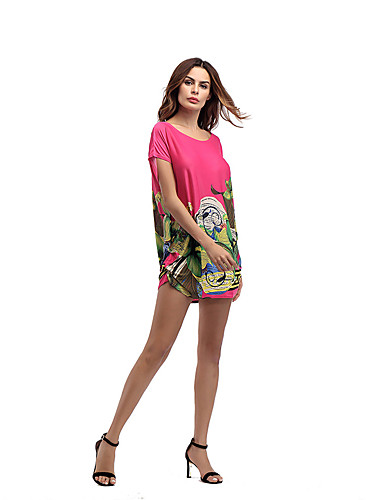 Women's Daily Holiday Going out Club Beach Vintage Sexy Street chic Loose Dress,Floral Round Neck Mini Short Sleeves Polyester Summer