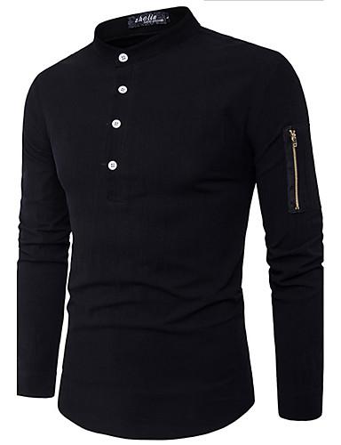 Bomull Langermet,Skjortekrage Skjorte Trykt mønster Enkel Fritid/hverdag Herre