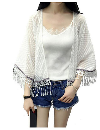 Women's Daily Casual Contemporary Summer Jacket,Striped Cowl 3/4-Length Sleeve Short Polyester