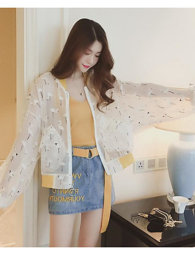 Women's Daily Casual Contemporary Spring Summer Jacket,Print Round Neck Long Sleeve Regular Polyester