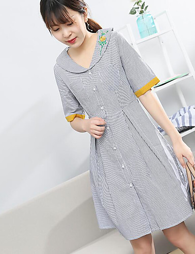 Women's Casual/Daily A Line Swing Dress,Striped Embroidered V Neck Knee-length Half Sleeves Cotton Polyester Summer Mid Rise Micro-elastic
