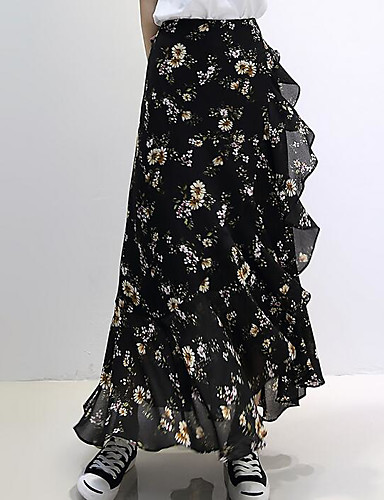 Women's Going out Midi Skirts,Cute Trumpet/Mermaid Chiffon Print Summer