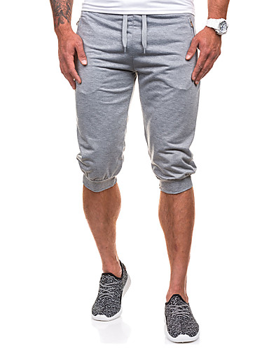 Men's Active Cotton / Polyester / Spandex Harem / Loose / Active Pants - Solid Colored Layered / Sports