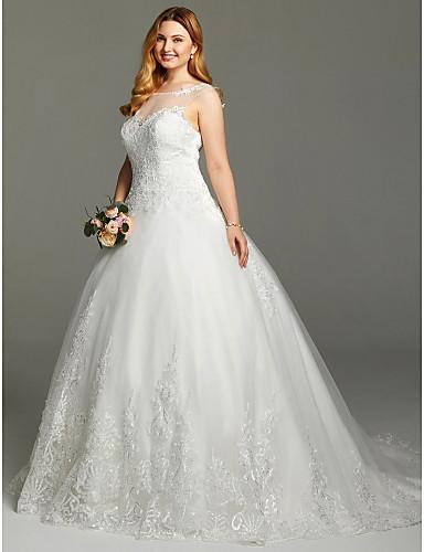 ball kjole prinsesse illusjon hals kapell tog blonder sateng tulle pluss størrelsen brudekjole med applikasjoner av lan ting bride®