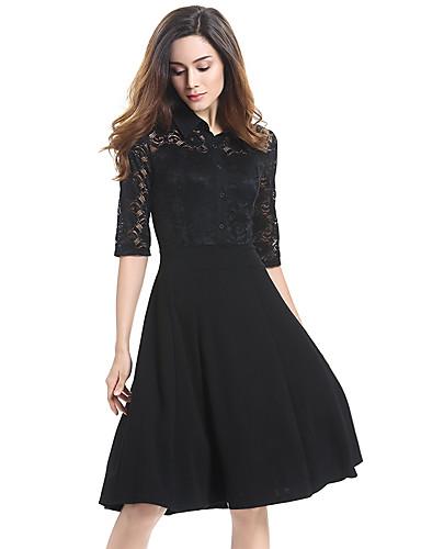 Feminino Evasê Rendas balanço Vestido,Festa Trabalho Tamanhos Grandes Sensual Vintage Rendas Bordado Colarinho de CamisaAltura dos