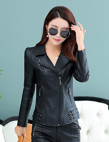 Women's Daily Casual Fall Leather Jacket