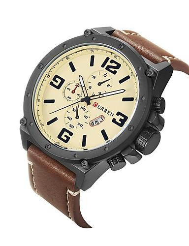 Homens Relógio Esportivo / Relógio de Pulso Chinês Calendário / Impermeável / Mostrador Grande Couro Legitimo Banda Amuleto / Fashion / Relógio Elegante Cores Múltiplas