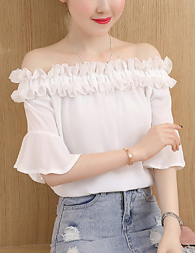 Women's Daily Going out Casual Sexy Summer Fall Blouse,Solid Boat Neck Short Sleeves Polyester Medium