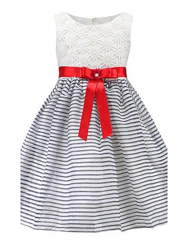 Girls' Stripes Floral Sleeveless Cotton Dress