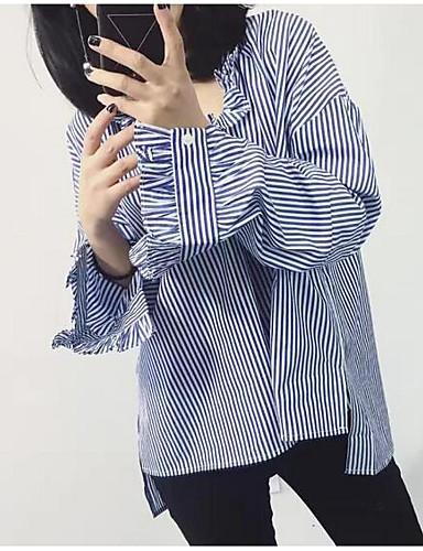 Bomull Langermet,V-hals Skjorte Stripet Enkel Fritid/hverdag Dame