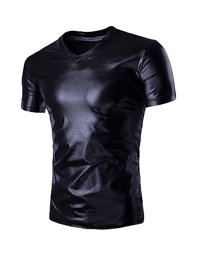 Homens Camiseta Activo Sólido Decote V / Manga Curta