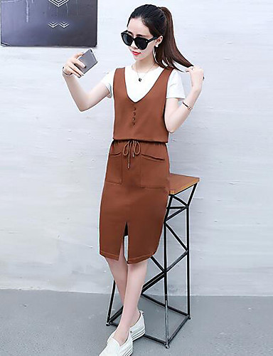 Women's Daily Casual Casual Summer T-shirt Dress Suits,Solid Round Neck Short Sleeve Cotton/nylon with a hint of stretch Flax