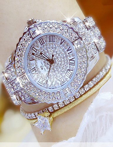 cheap Bracelet Watches-Women's Luxury Watch Dress Watch Wrist Watch Stainless Steel Silver / Gold Water Resistant / Waterproof Chronograph Creative Analog Ladies Luxury Simulated Diamond Watch Fashion Elegant - Gold Silver
