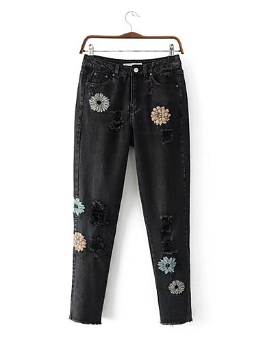 Women's Mid Rise Inelastic Loose Jeans Pants,Street chic Embroidered Cotton All Seasons