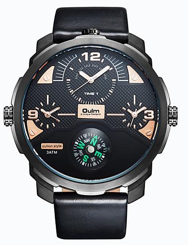 Homens Quartzo Relógio de Pulso Relógio Militar Relógio Esportivo Japanês Calendário Impermeável Mostrador Grande Punk Três Fusos