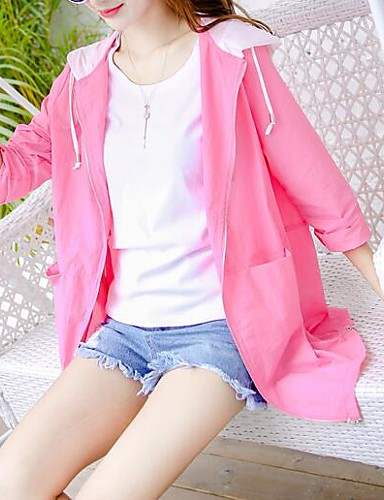 Women's Daily Modern/Comtemporary Summer Trench Coat,Solid Hooded Long Sleeve Long Others Chinlon