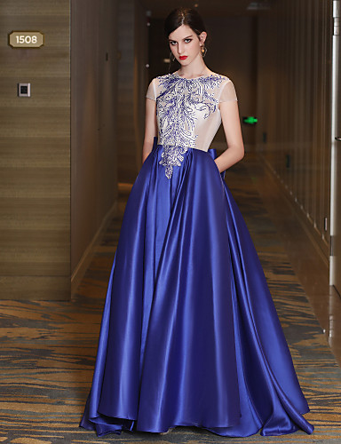 A-Line Jewel Neck Sweep / Brush Train Satin Tulle Mikado Formal Evening Dress with Beading Lace Bandage by QZ
