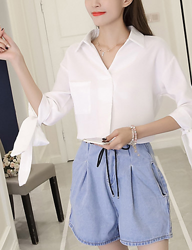 Women's Daily Going out Casual Fall Shirt,Solid Shirt Collar 3/4 Length Sleeves Polyester Medium