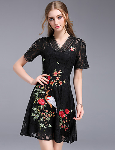 Women's Party Going out Vintage Street chic A Line Sheath Dress,Embroidered V Neck Above Knee Short Sleeves Cotton Polyester Others Summer