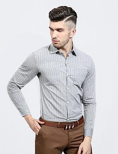 Men's Daily Work Casual Spring Fall Shirt,Striped Shirt Collar Long Sleeves Cotton Polyester Medium