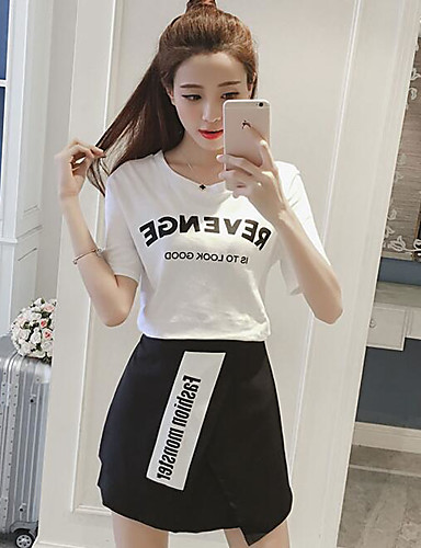 Women's Daily Casual Summer T-shirt Skirt Suits,Solid Round Neck Short Sleeve 100% Cotton Micro-elastic