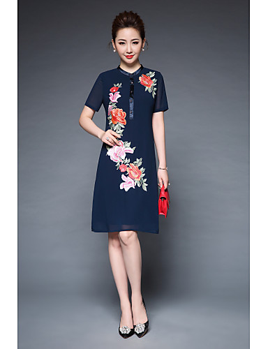 YBKCP Women's Daily Going out Vintage Street chic A Line Sheath Dress,Embroidered Round Neck Knee-length Short Sleeves Polyester Summer High