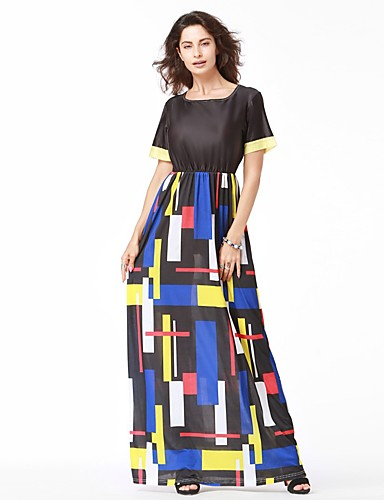 Women's Party Holiday Club Street chic Shift Dress,Geometric Boat Neck Maxi Sleeveless Cotton Spring Summer Mid Rise Inelastic Thin